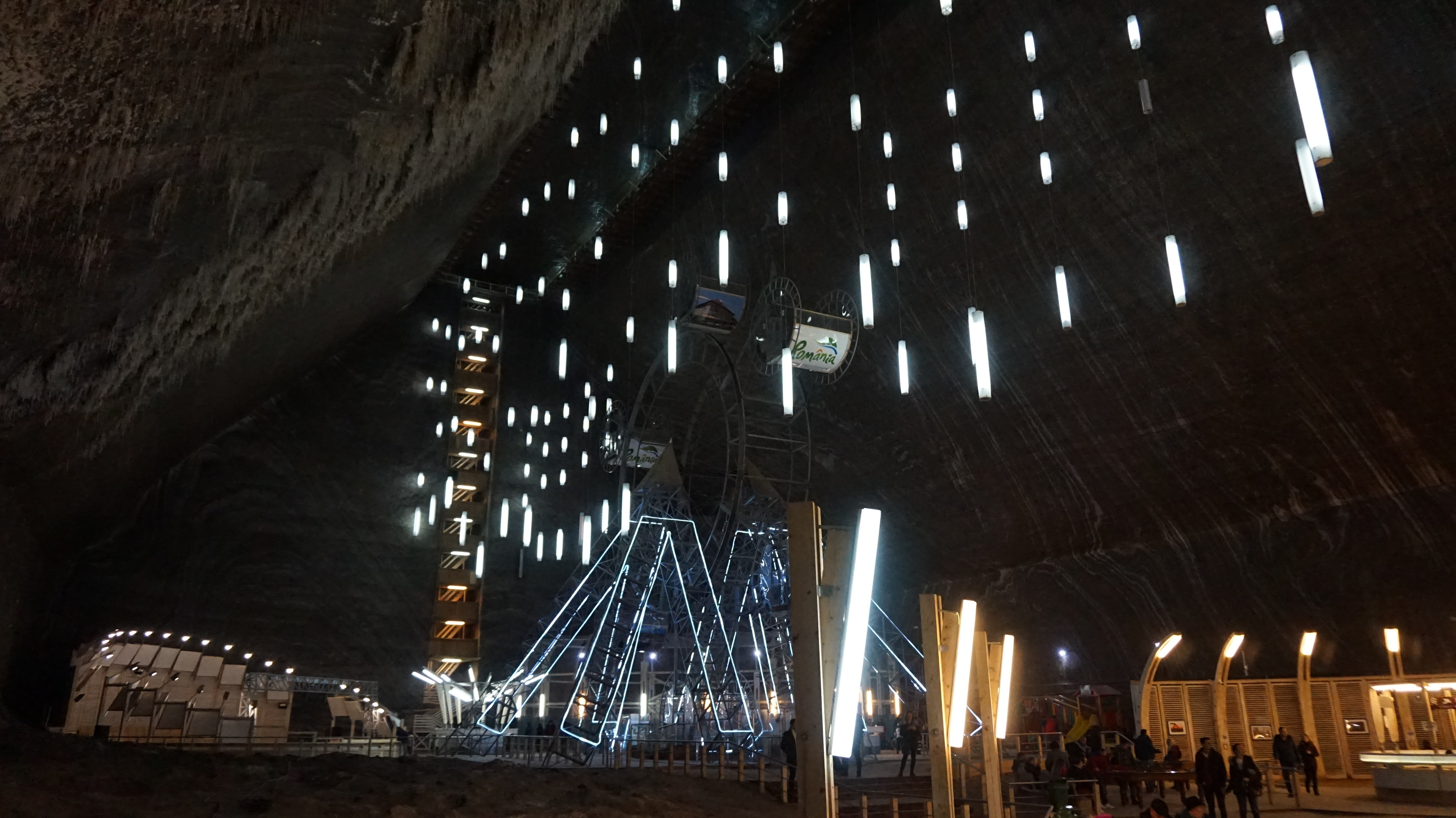 Panoramic view of Turda Salt mine's ground floor, with the ferris wheel