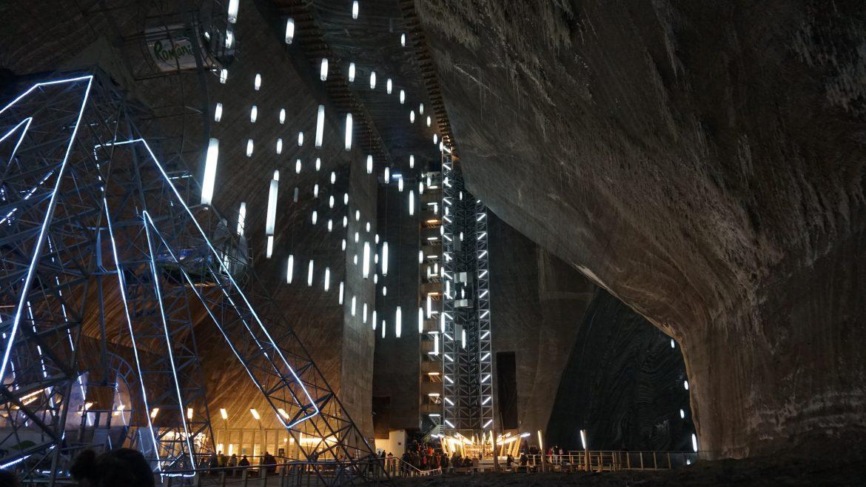 panoramic view of turda salt mine ferris wheel