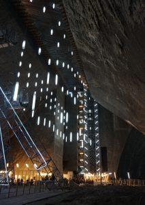 Panoramic view of turda salt mine and the ferris wheel.