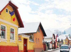 romanian typical architecture of colorful houses in Schei district Brasov