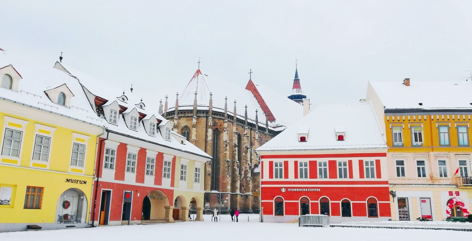Saxon buildings during winter time in Brasov Transylvania