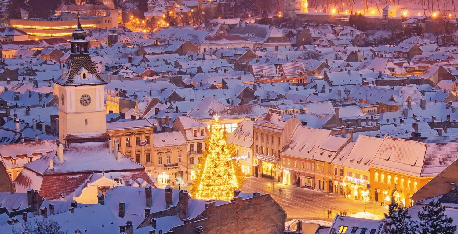 Brasov City Center during night
