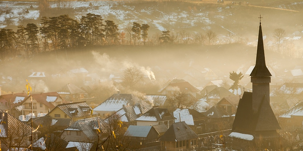 Cold winter morning in a village in Maramures