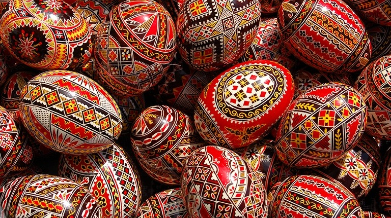 traditional painted eggs in Bucovina