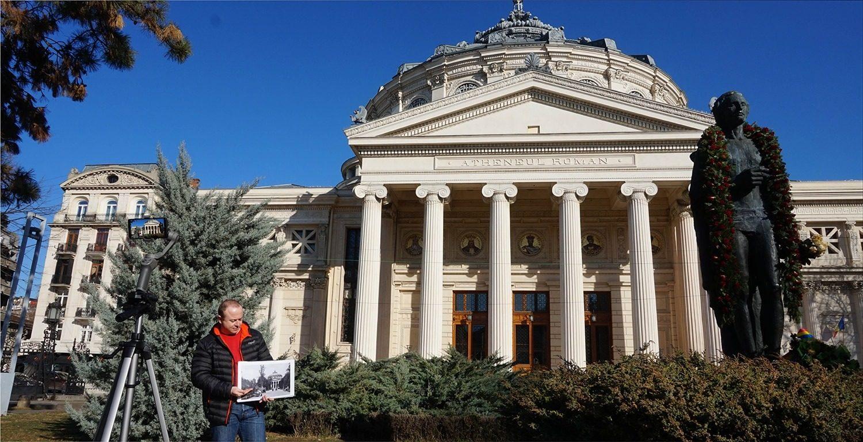 Romanian Athenaeum and Mihai Eminescu Statue