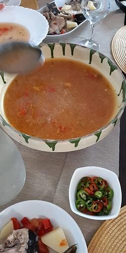 local recipe of Danube Delta fish soup